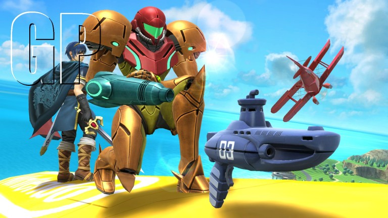 Samus kneels before a brand new weapon; A Submarine Gun